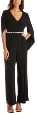R & M Richards Embellished Draped-Back Jumpsuit