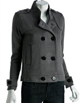 grey cotton blend double breasted sweater coat