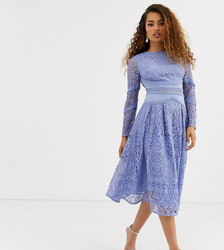 Asos DESIGN Petite long sleeve prom dress in lace with circle trim details