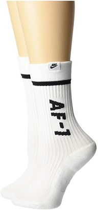 Nike Sneaker Sox Air Force 1 Crew 2-Pair (White/Black) No Show Socks Shoes