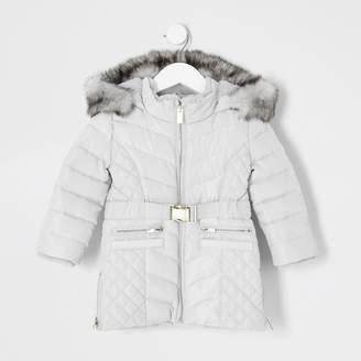 River Island Mini girls Grey padded belted longline coat