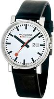 Mondaine A6693030011sbb Unisex Evo Big Date Leather Strap Watch, Black/white
