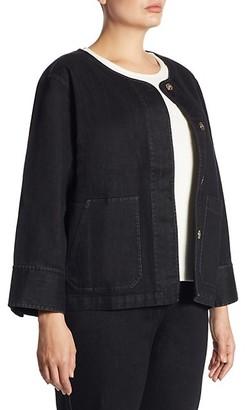 Joan Vass, Plus Size Snap Front Denim Jacket
