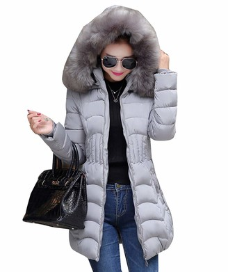 Wenchuang Women's Slim Fit Puffer Down Jacket with Faux Fur Hood Warm Comfy Padded Coat Grey M