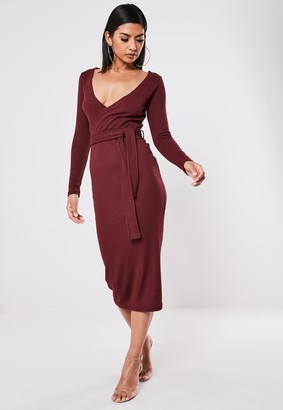 Missguided Burgundy Ribbed Wrap Front Tie Belt Midi Dress