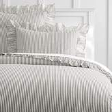 Pottery Barn Teen The Emily & Meritt Ruffle Stripe Duvet Cover, Full/Queen, Charcoal/Ivory