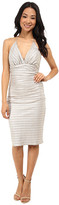 Laundry by Shelli Segal Chain Back Metallic Cocktail Dress