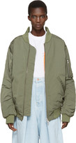 Martine Rose Green Oversized Collapsed Bomber Jacket