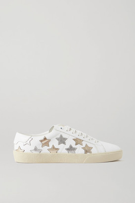 Saint Laurent Court Classic Appliqued Metallic-trimmed Leather Sneakers - White