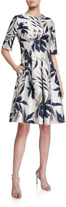 Rickie Freeman For Teri Jon Leaf-Print Jacquard Cocktail Dress