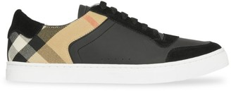 Burberry Reeth Low-Top Check Detail Leather Sneakers