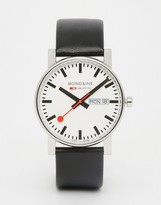 Mondaine Leather Black Watch With Date & Day 38mm