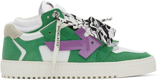 Off-White White and Green Off-Court 3.0 Low Sneakers
