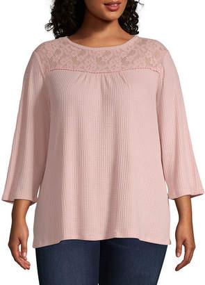 ST. JOHN'S BAY Plus Womens Crew Neck 3/4 Sleeve Blouse
