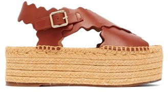 Chloé Scalloped Leather Flatform Espadrilles - Womens - Brown