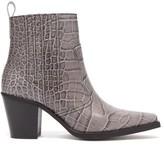Ganni Callie Western Crocodile-effect Leather Boots - Womens - Grey