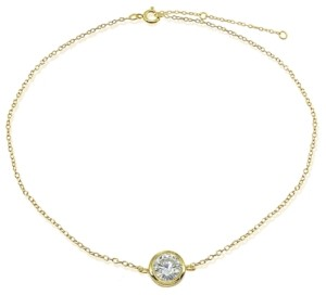 Giani Bernini Cubic Zirconia Round Bezel Stone Ankle Bracelet in Sterling Silver or 18K Gold-Plated Sterling Silver