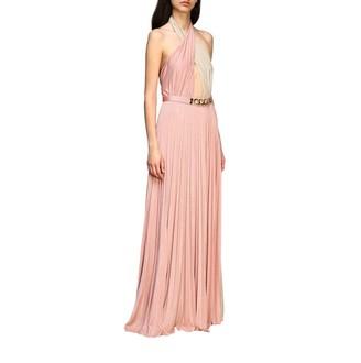 Elisabetta Franchi Long Dress In Lurex Fabric With Belt