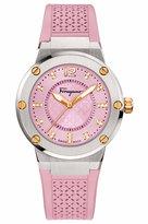 Salvatore Ferragamo 33mm F-80 Two-Tone Watch w/ Diamonds & Rubber Strap, Pink