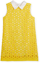 Charabia Perforated Neoprene A-Line Collared Dress, Size 4-8