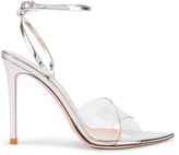 Gianvito Rossi Stark Ankle Strap Heels in Transparent & Silver | FWRD