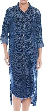BILLY T Leopard Print Chambray Shirt Dress