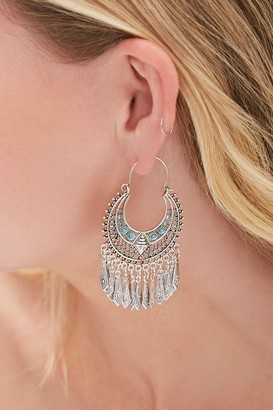 Forever 21 Ornate Faux Turquoise Hoop Earrings