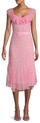 LoveShackFancy Faith Print Silk Midi Dress