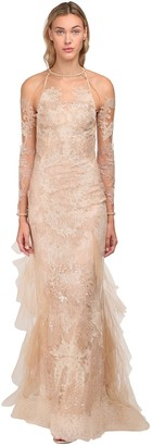 Sequined Sheer Organza & Lace Long Dress