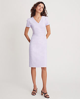 Ann Taylor Petite Crosshatch Puff Sleeve Sheath Dress