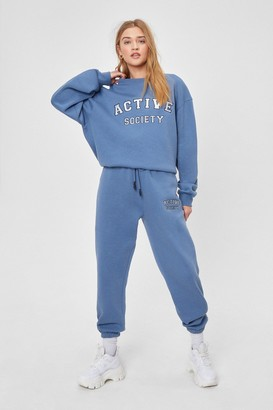 Nasty Gal Womens Active Society Embroidered Joggers - Blue - L