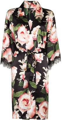 Sainted Sisters Rose-Print Silk Robe