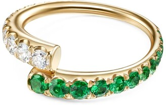 Melissa Kaye Yellow Gold, Diamond and Tsavorite Garnet Lola Ring