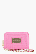 Versace Pink quilted Leather wristlet wallet