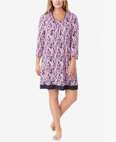Ellen Tracy Plus Size Contrast-Trimmed Printed Knit Sleepshirt