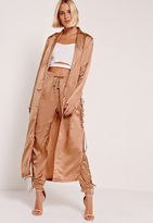 Missguided Satin Eyelet Duster Jacket Nude