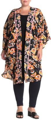 Bobeau Boarder Floral Print Kimono (Plus Size)