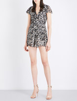 Alice + Olivia Alice & Olivia Tinsley lace-embroidered playsuit
