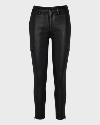 7 For All Mankind Coated Skinny Cargo in Black