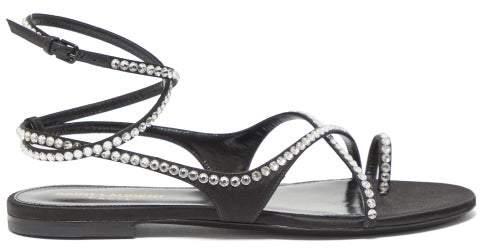 Saint Laurent Gia Crystal Embellished Wraparound Satin Sandals - Womens - Black Silver