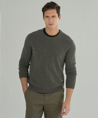Atm Cashmere Exposed Seam Crew Neck Sweater - Heather Army
