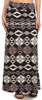 Simplicity Women Tribe Print Foldover Waist Maxi Skirts, Multi-color , S/M