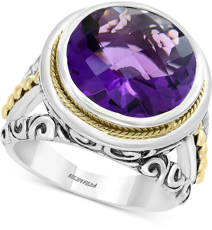 Effy Amethyst Filigree Statement Ring (7-9/10) in Sterling Silver & 18k Gold