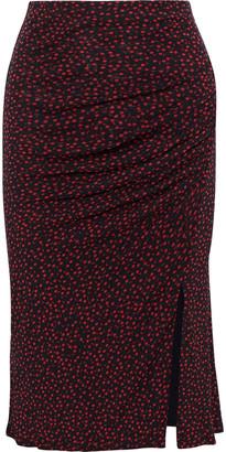 Diane von Furstenberg Ruched Floral-print Stretch-mesh Pencil Skirt