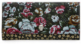 Alexander McQueen Floral-Print Leather Continental Wallet, Multi