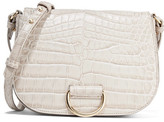 Little Liffner - D Saddle Medium Croc-effect Leather Shoulder Bag - Light gray