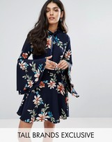 Glamorous Tall Skater Dress With Fluted Sleeves