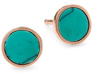 ginette_ny 18K Rose Gold & Turquoise Stud Earrings
