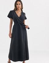 Asos Design DESIGN denim wrap midi dress in black