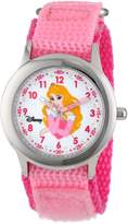 Disney Kids' W000962 Aurora Glitz Stainless Steel Pink Nylon Strap Watch